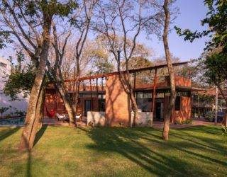 Raw Clay bricks shape this Relaxing Backyard Paradise in Santa Cruz