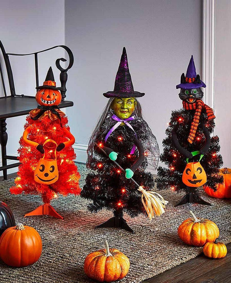 Beautifully illuminated Halloween character trees are once again popular this season