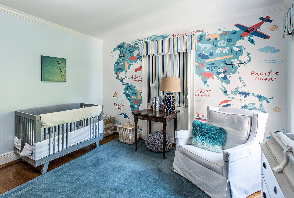 Chic gender-neutral nursery inspired by life on the high seas!