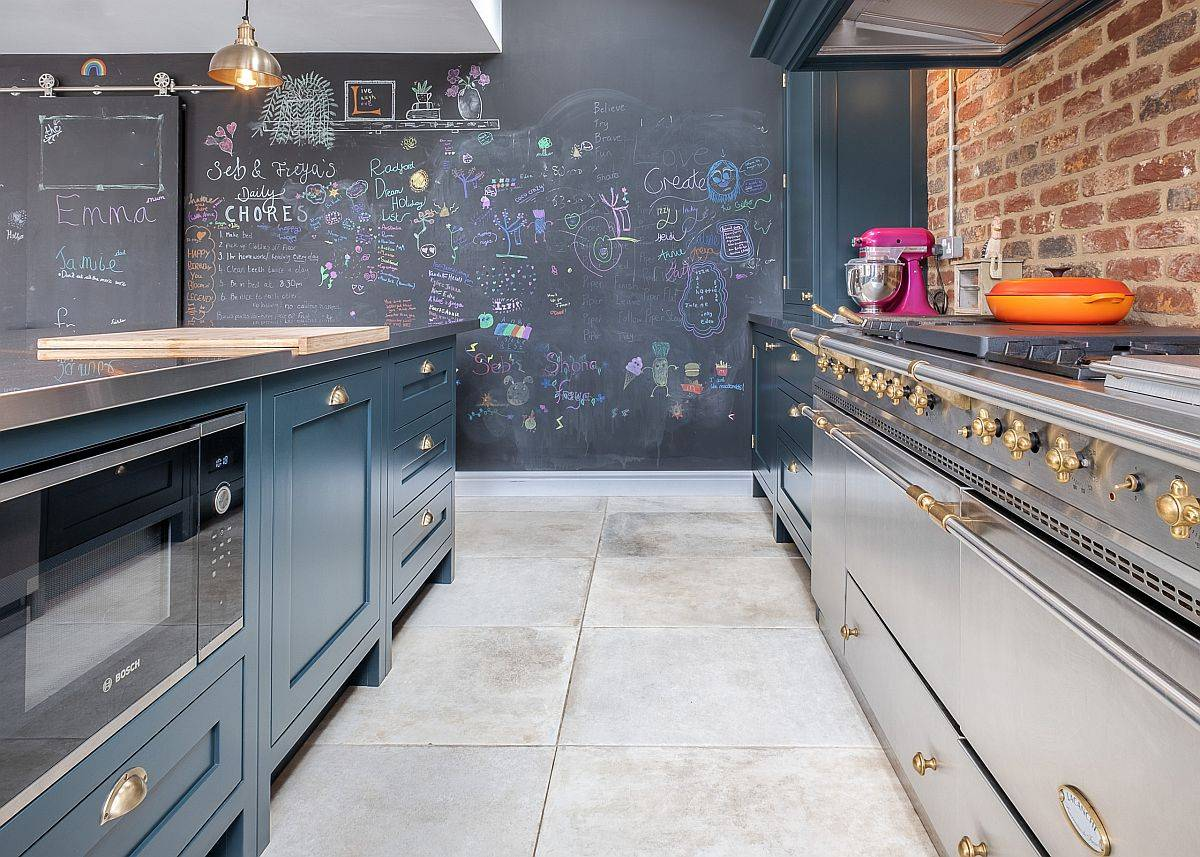 Exquisite-modern-industrial-style-kitchen-with-exposed-brick-wall-section-and-a-chalkboard-wall-in-th-backdrop-34342