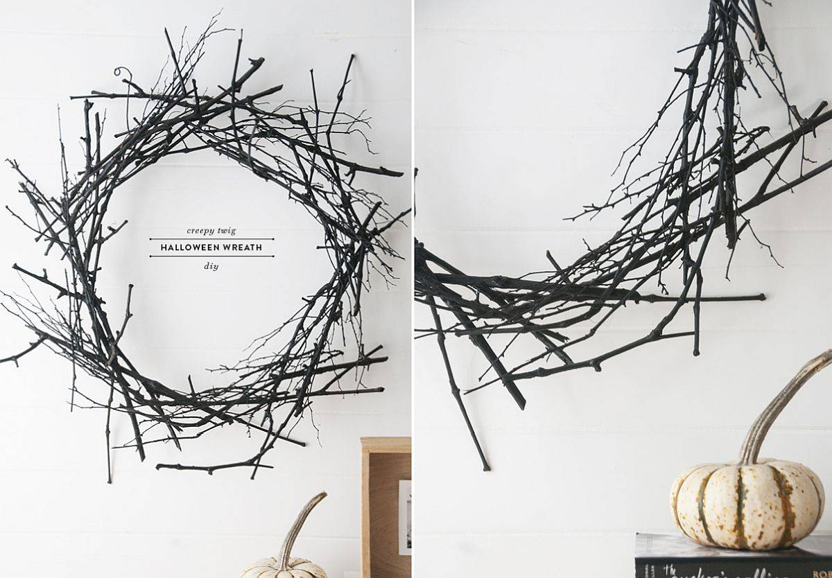 Hard to go more minimal with halloween decorations that this dark twig wreath