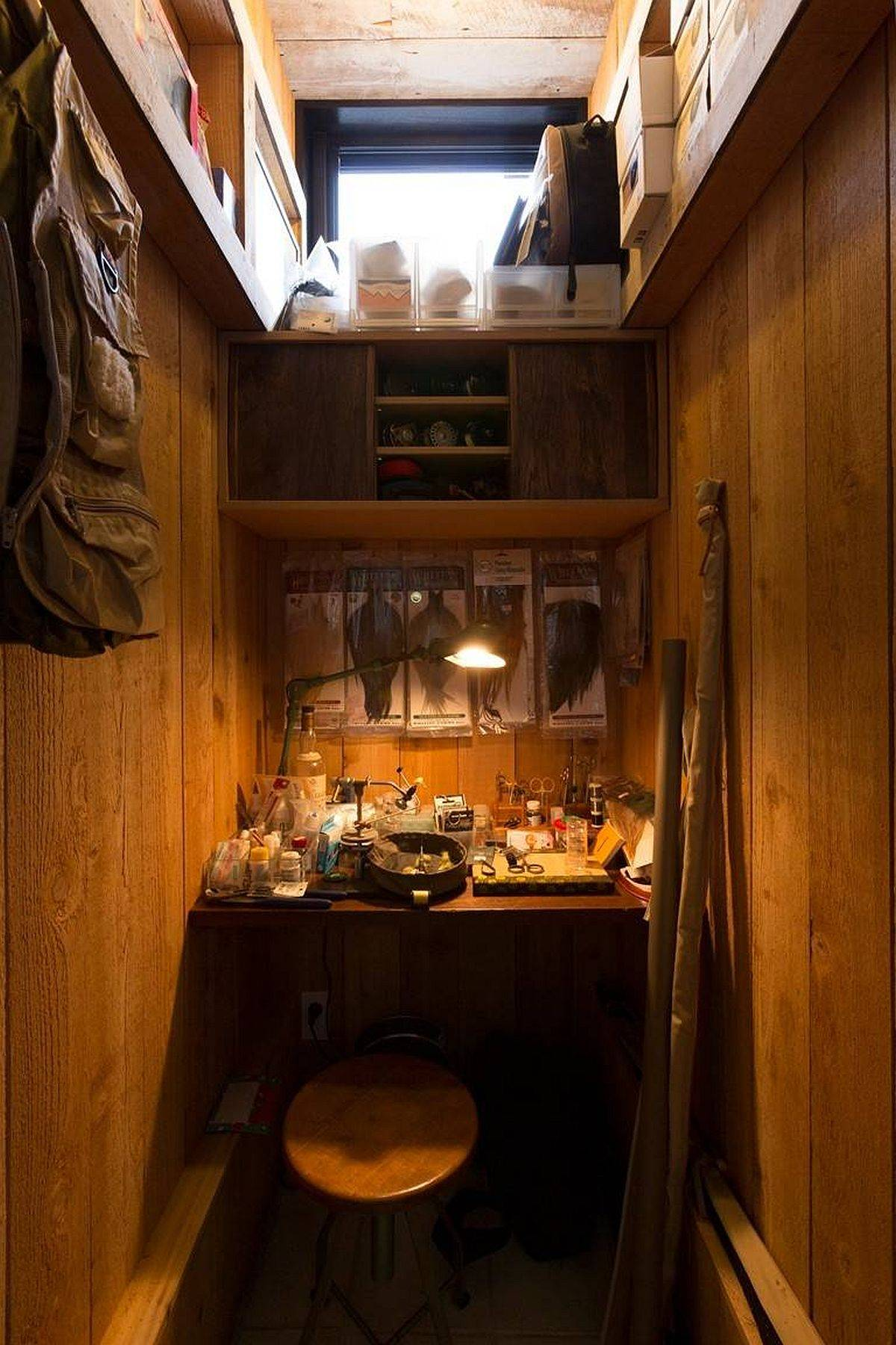 It is hard to imagine small rustic home offices getting tinier than this!