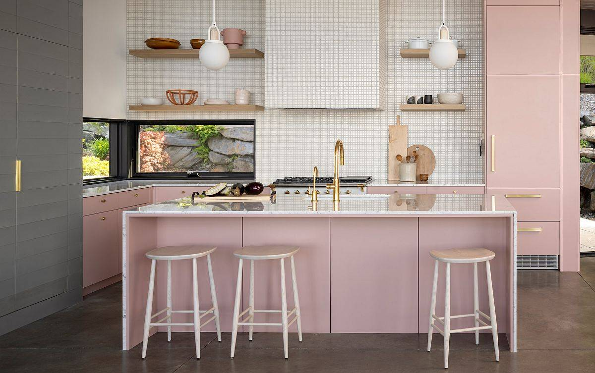 Light-pink-adds-glam-to-this-mdoern-eat-in-kitchen-with-a-view-of-the-outdoors-51314