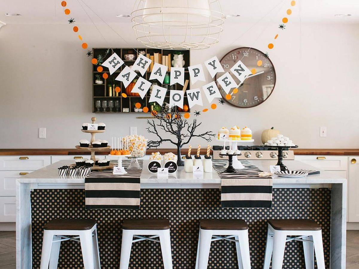 Modern kitchen with Halloween decorations that feel minimal and classy