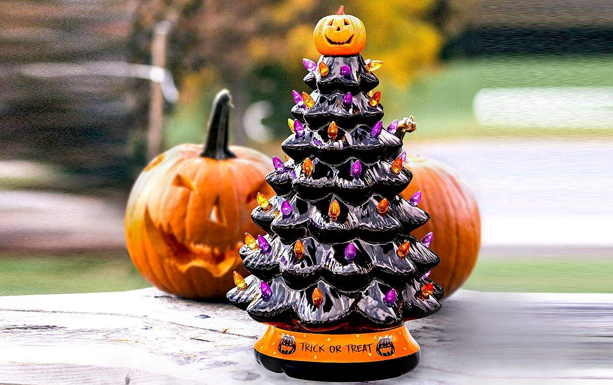 Pick a little Halloween tree to decorate the window sill or the fireplace mantle this month