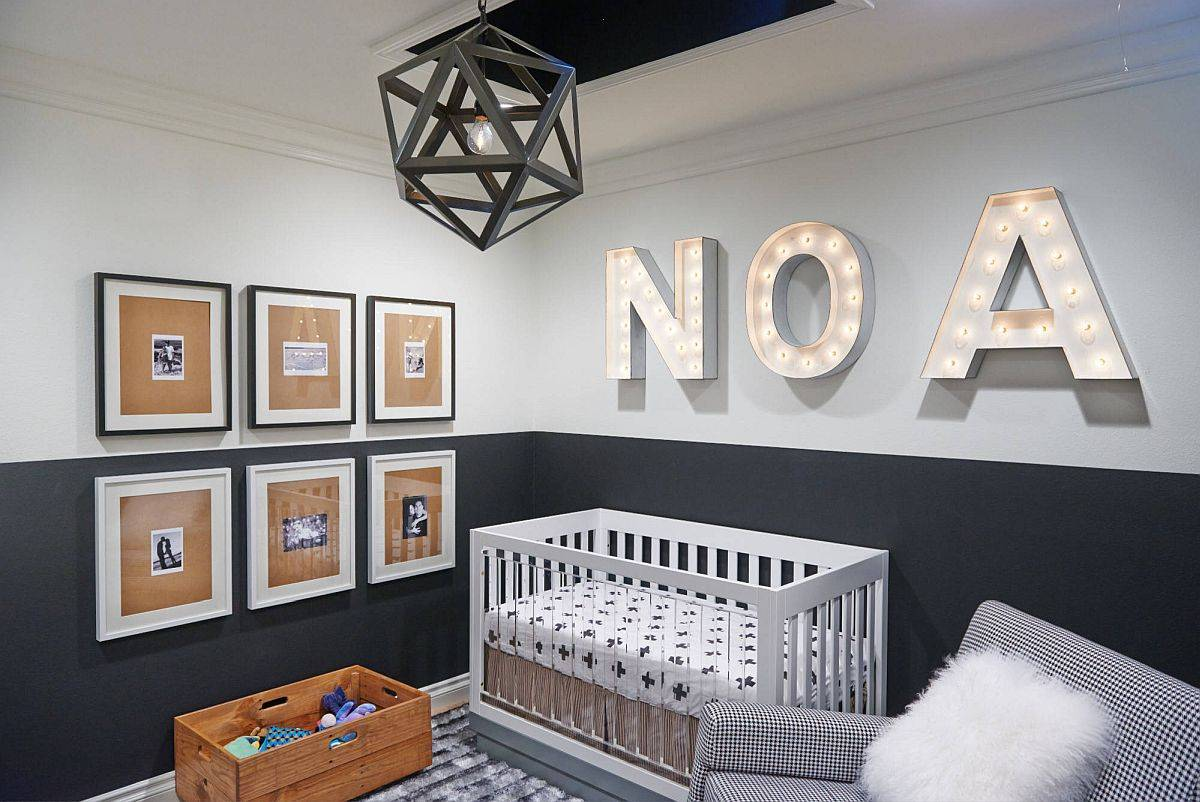 Polished-contemporary-nursery-in-white-and-deep-gray-with-a-bold-wall-sign-that-steals-the-spotlight-42551