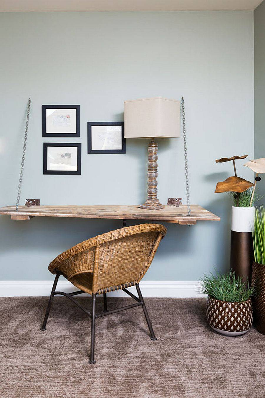 Turn the corner in the living room or bedroom into an elegant and understated rustic home workspace
