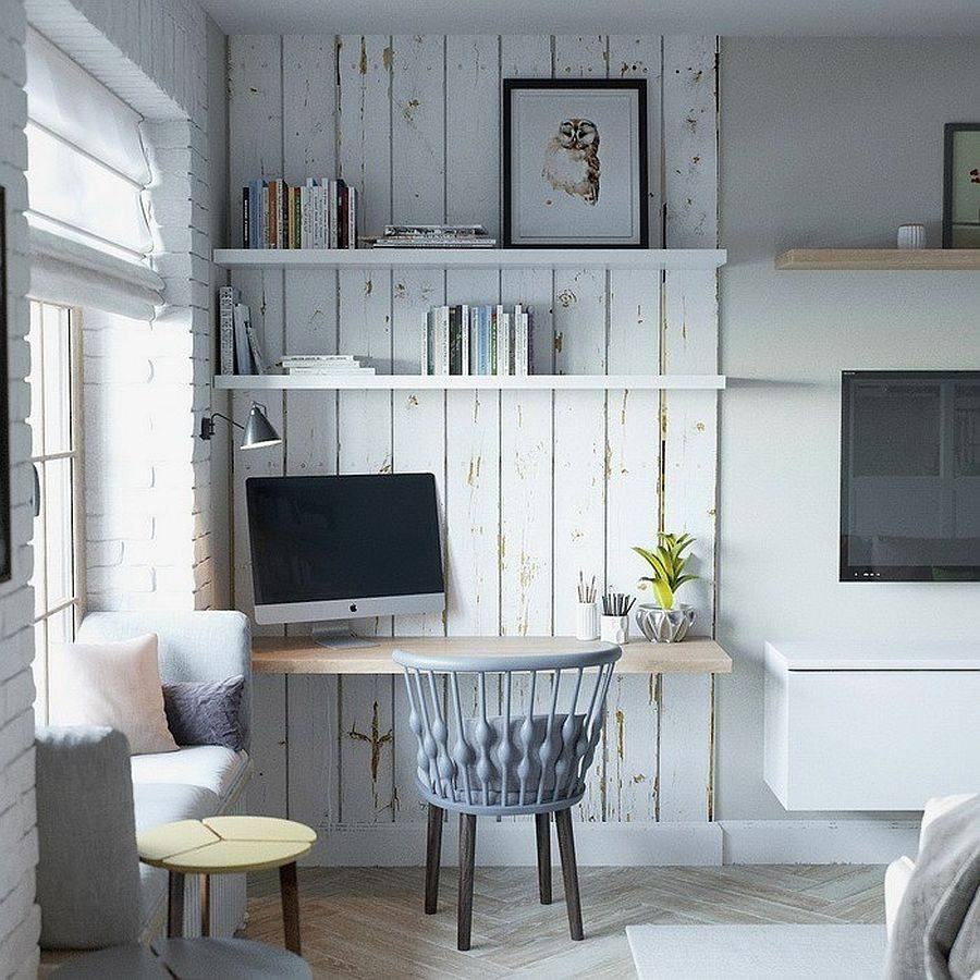 Whitewashed-reclaimed-wood-planks-turn-the-corner-of-the-room-into-a-striking-home-office-with-rustic-style-15902