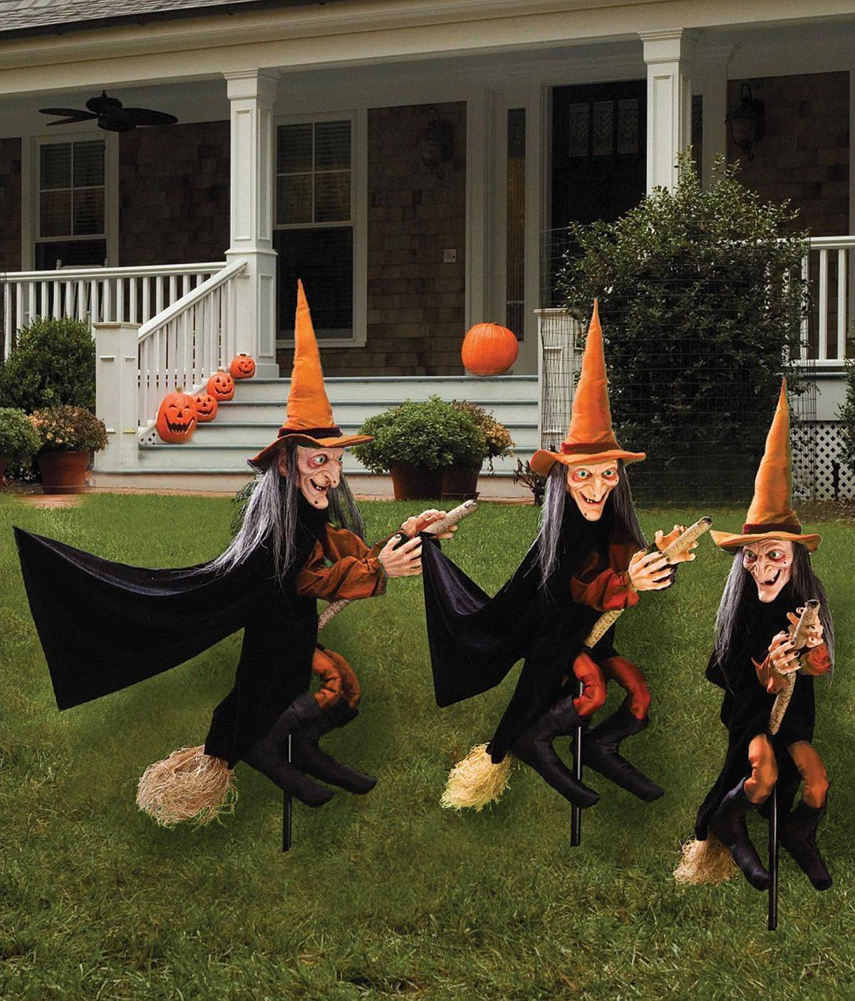 Witches on the broom is a popular decorating idea this year for Halloween!