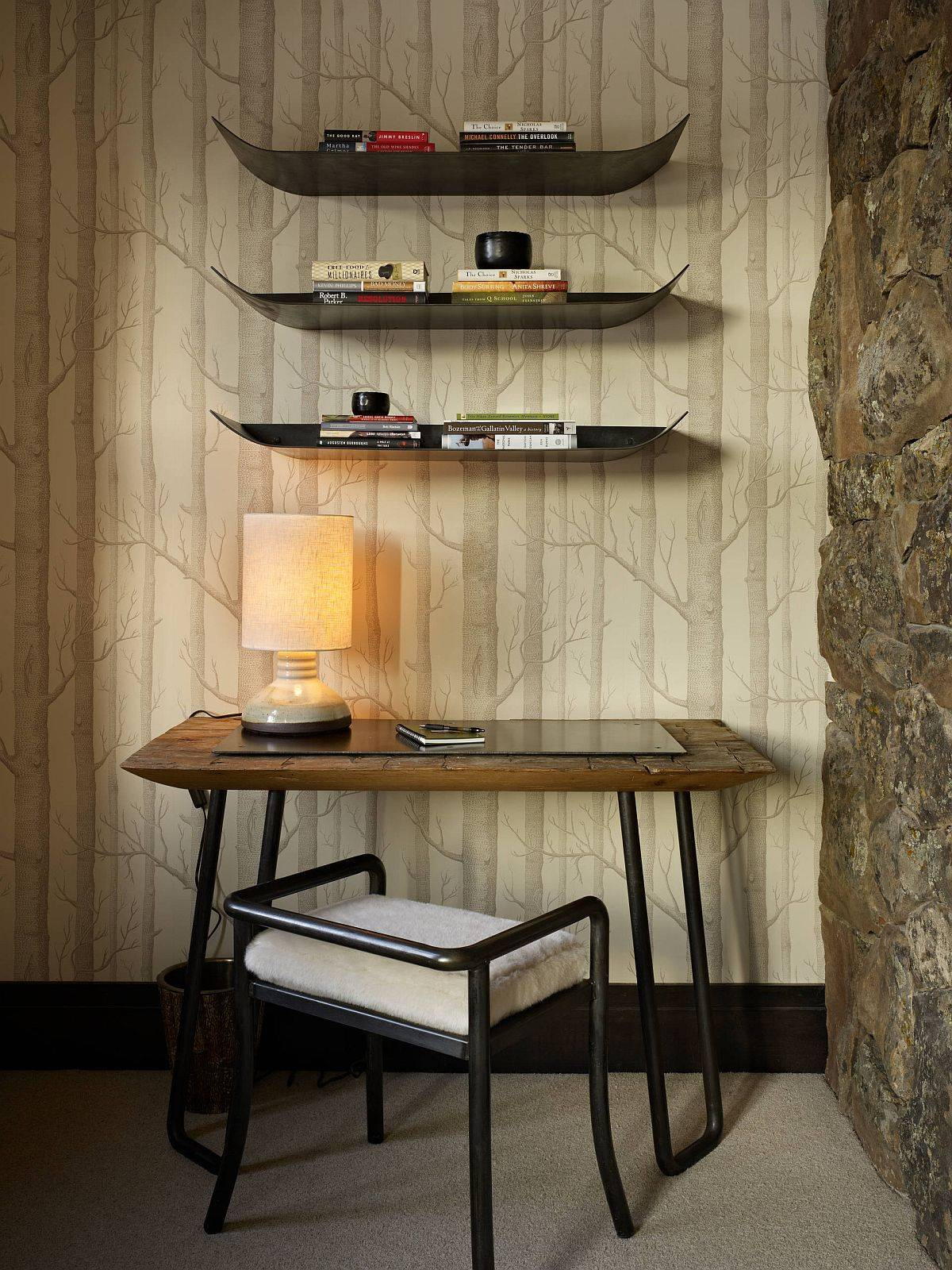 Woods wallpaper is a modern icon that is just perfect for the small rustic home office